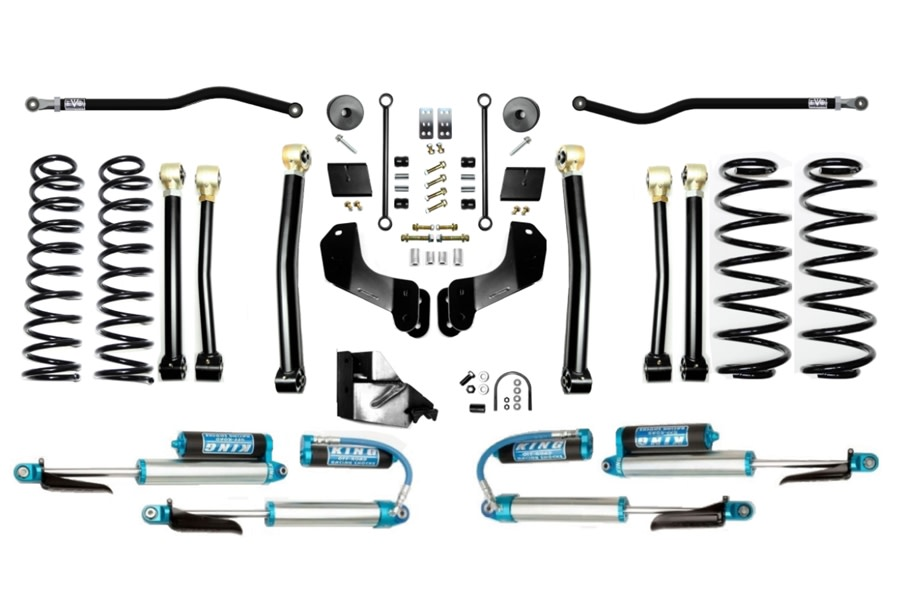 EVO Manufacturing 4.5in Enforcer Overland PLUS Stage 4 Lift Kit w/ Comp Adjuster Shocks - JL Diesel